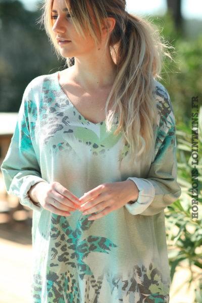 Pull-kaki-clair-avec-motifs-palmiers-colorés-effet-brillants-vêtements-amples-femmes-D012