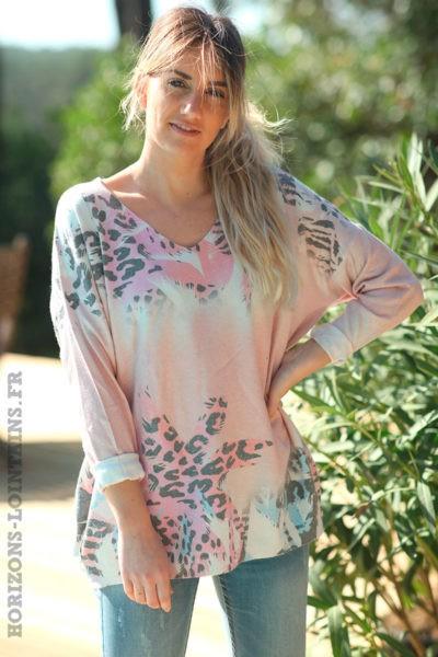 Pull-rose-poudré-avec-motifs-palmiers-colorés-effet-brillants-vêtements-amples-femmes-D012