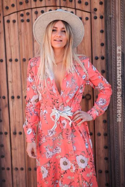 Robe-longue-chemise-corail-avec-imprimé-floral-d004
