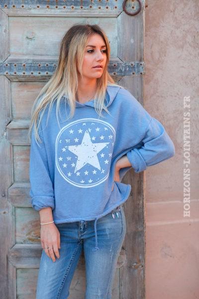 Sweat-à-capuche-bleu-jean-clair-confort-étoiles-d025