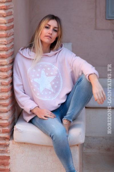 Sweat-à-capuche-rose-poudré-confort-étoiles-d025
