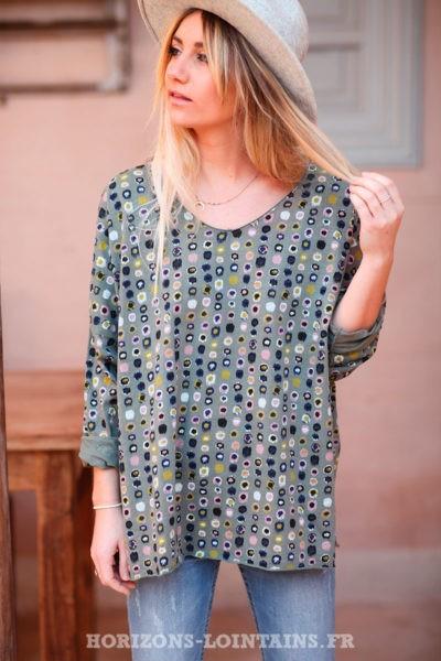 T-shirt-kaki-ample-motifs-colorés-d030