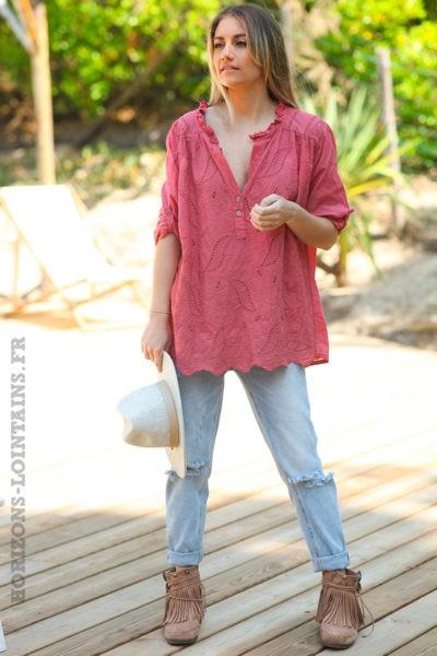 Tunique-style-anglaise-couleur-bois-rose-avec-broderie-fine-col-plissé-esprit-bohème-hippie-D056