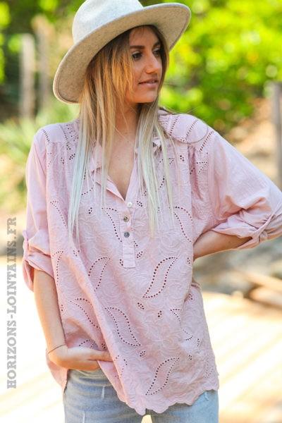 Tunique-style-anglaise-couleur-rose-poudré-avec-broderie-fine-col-plissé-esprit-bohème-hippie-D056