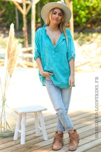 Tunique-style-anglaise-couleur-turquoise-avec-broderie-fine-col-plissé-esprit-bohème-hippie-D056