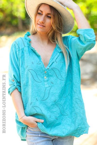 Tunique-style-anglaise-couleur-turquoise-avec-broderie-fine-col-plissé-esprit-bohème-hippie-D056-03