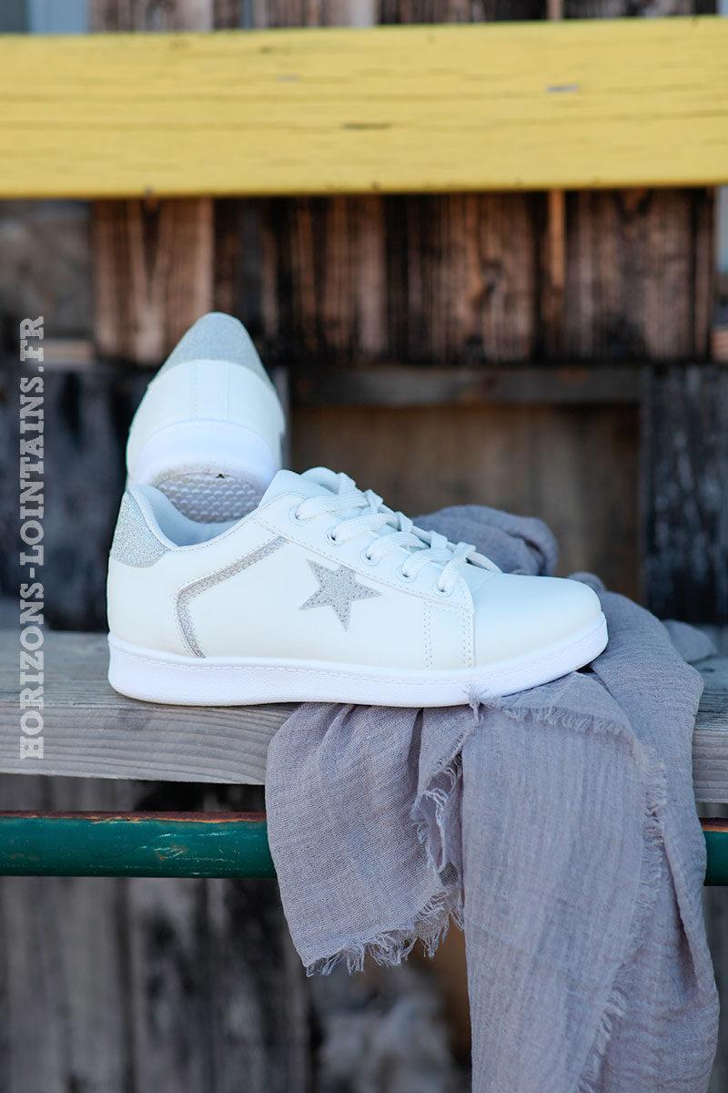 Baskets-blanches-étoile-silver-d001