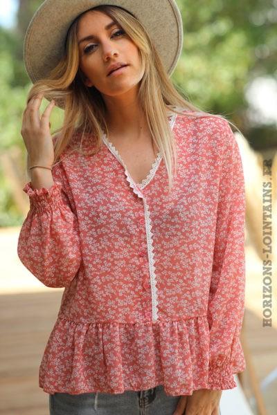 Blouse-bois-de-rose-basque-imprimé-petites-fleurs-voilage-dentelle-style-bohème-esprit-hippie-D059