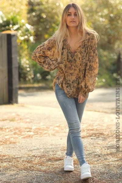 Blouse-camel-clair-légère-motif-floral-vêtements-femme-esprit-bohème-style-hippie-D070