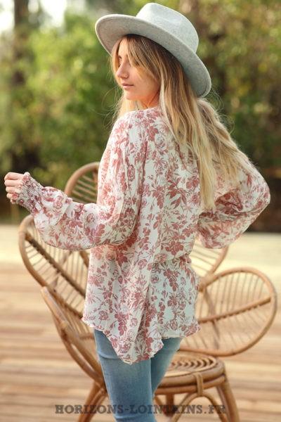 Blouse-terracotta-légère-motif-floral-vêtements-femme-esprit-bohème-style-hippie-D070