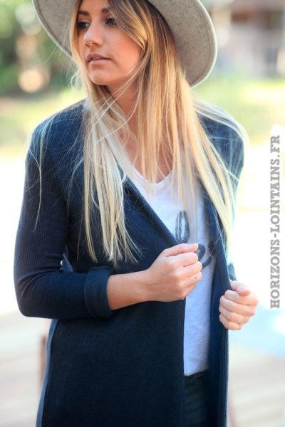 Gilet-bleu-marine-fin-extra-long-vêtements-femme-style-bohème-esprit-hippie-veste-longue