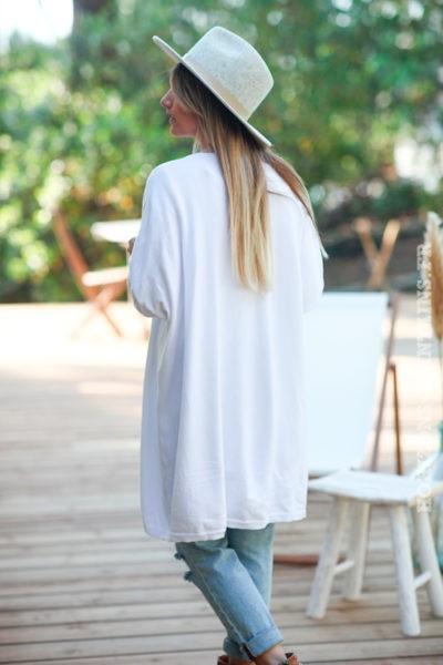 Gilet-long-blanc-col-enveloppant-vêtement femme style hippie bohème