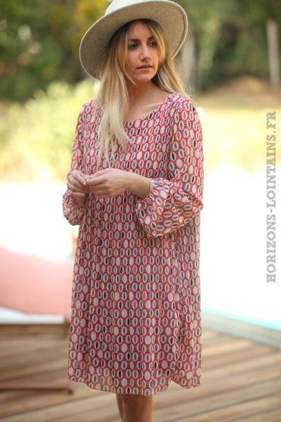 Robe-bois-rose-fluide-plissée-motifs-arrondis-robes-esprit-bohème-style-hippie-D026