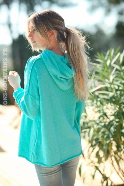 Sweat-à-capuche-turquoise-confort-message-en-relief--D032-(