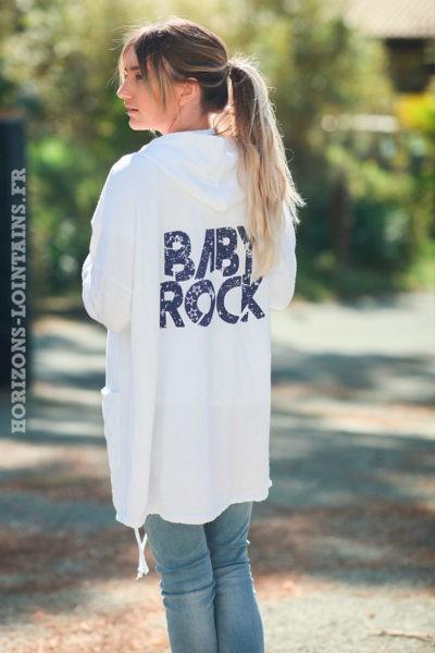 Veste-longue-blanche-sweat-zip-baby-rock-d007