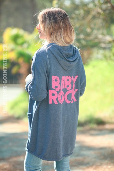 Veste-longue-bleu-jean-foncé-sweat-zip-baby-rock-d007