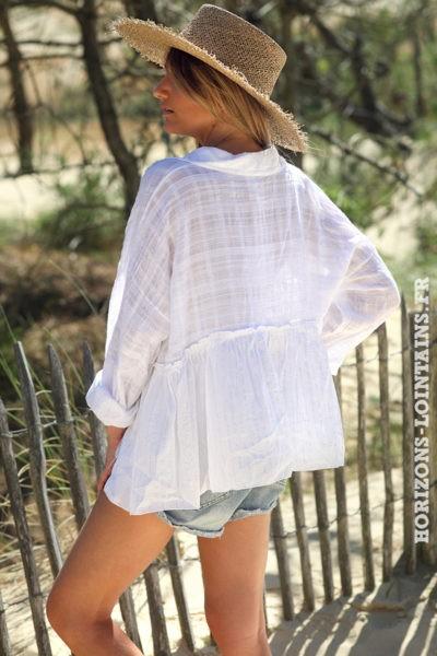 Chemise-blanche-fluide-liserés-argentés-vêtements-femme-style-bohème-hippie-D081