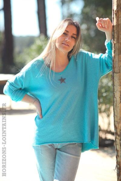 Pull-confort-turquoise-étoile-strass-argentée-vêtements-amples-femme