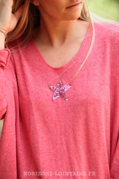 Pull-corail-rose-col-v-petite-étoile-sequins-bohème-esprit-hippie-C176-02