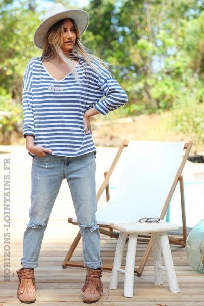 Pull-marinière-bleu-jean-arête-poisson-sequins-brillants-tops-femmes-D084