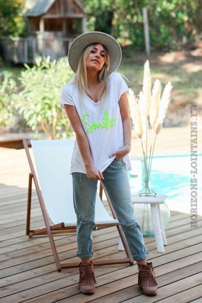 Tshirt-blanc-en-coton-manches-courtes-smile-jaune-fluo-d60