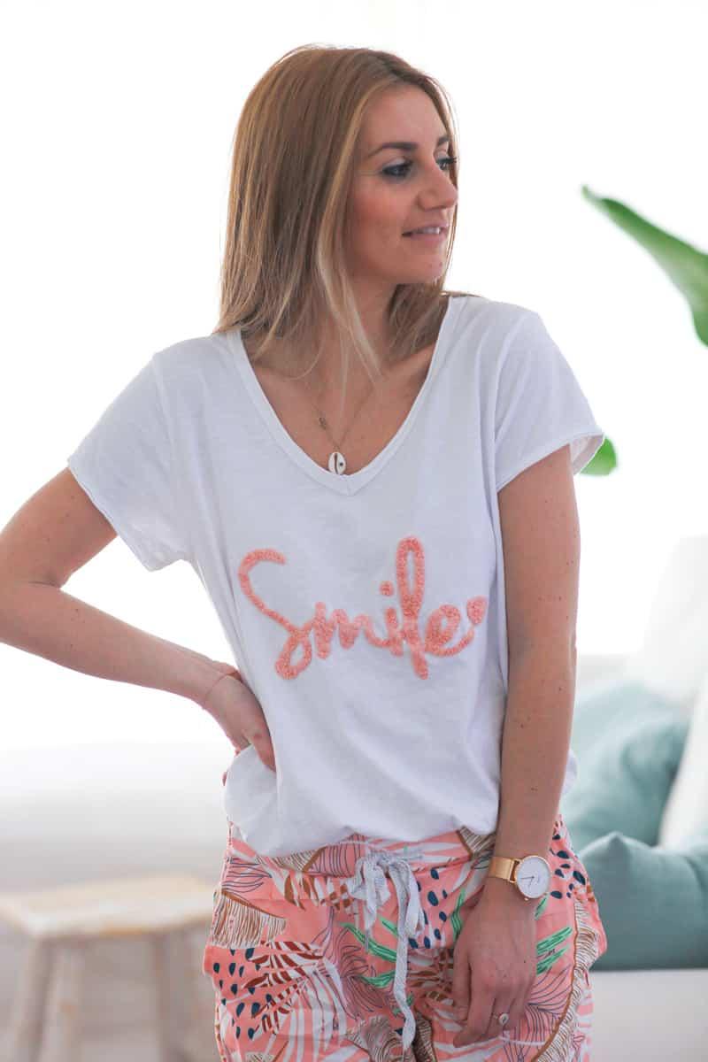 Tshirt blanc en coton manches courtes smile rose d060 (1)