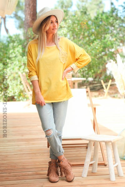 Tshirt-jaune-col-petites-franges-fausse-poche-army-c253