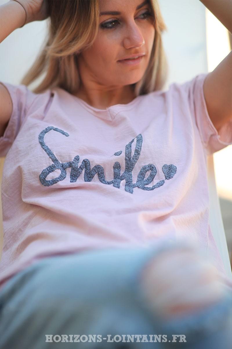 Tshirt-rose-poudre-en-coton-manches-courtes-smile-d60 nouveau
