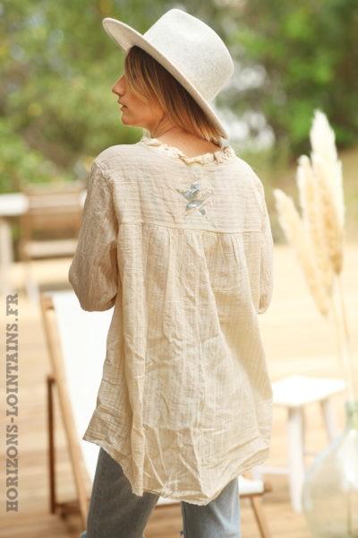 Tunique-beige-sable-fils-argentés-étoile-dos-vêtement-femme-esprit-bohème-D072