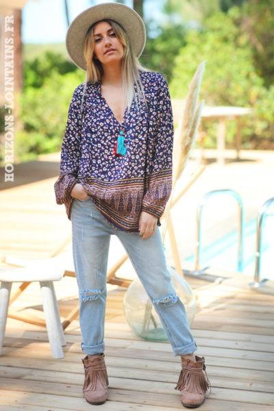Tunique-bleu-marine-col-V-pompon-motifs-petites-fleurs-vêtement-amples-femmes-esprit-hippie-bohème-D061