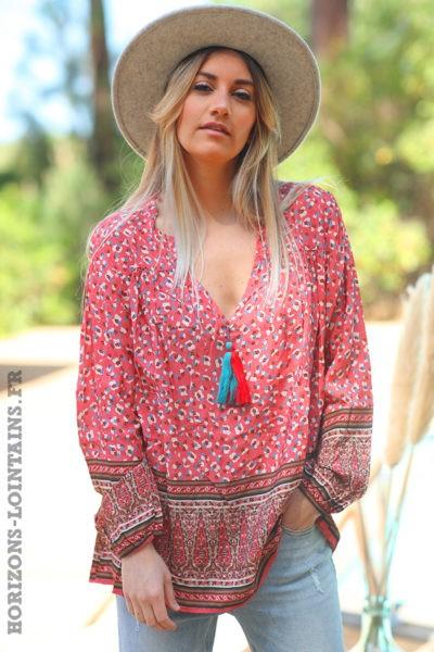 Tunique-bois-de-rose-col-V-pompon-motifs-petites-fleurs-vêtement-amples-femmes-esprit-hippie-bohème-D061