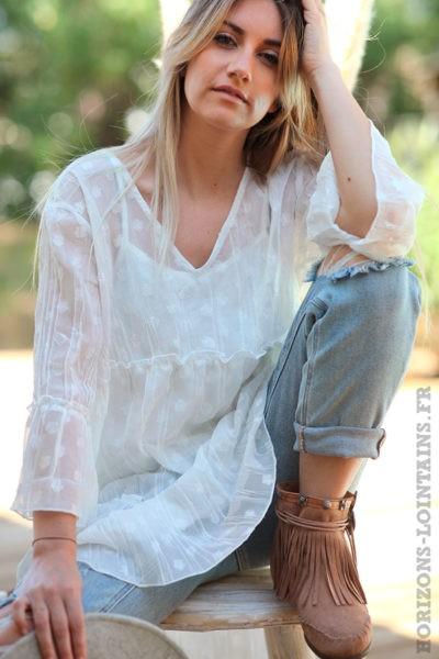 Tunique-longue-blanche-voilage-broderie-petites-fleurs-esprit-bohème-style-hippie-D065