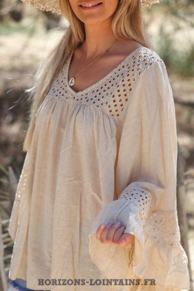 Blouse-beige-coton-avec-broderie-ajourée-tunique-bohème-vêtements-ample-femme-hippie