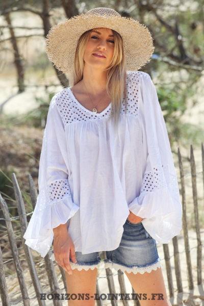 Blouse-blanche-coton-avec-broderie-ajourée-tunique-bohème-vêtements-ample-femme-hippie