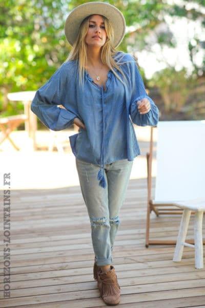 Blouse bleu jean satiné motifs petits cœurs