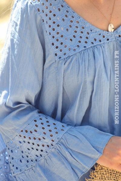 Blouse-bleu-lavande-coton-avec-broderie-ajourée-tunique-bohème-vêtements-ample-femme-hippie