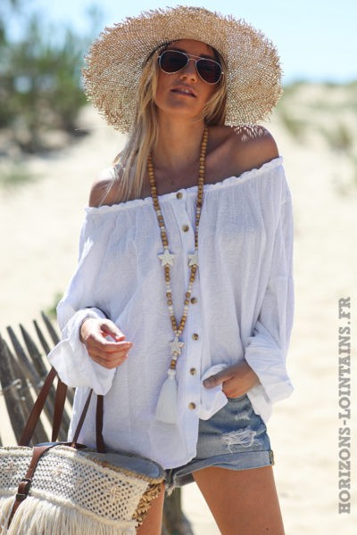 Blouse-brodée-blanche-boutonnée-avec-col-élastique-tunique-femme-style-hippie-bohème-D099