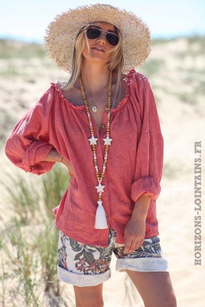 Blouse-brodée-bois-de-rose-boutonnée-avec-col-élastique-tunique-femme-style-hippie-bohème-D099
