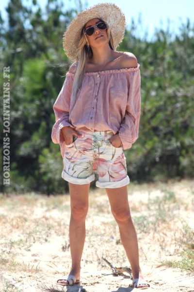 Blouse-brodée-rose-poudré-boutonnée-avec-col-élastique-tunique-femme-style-hippie-bohème-D099