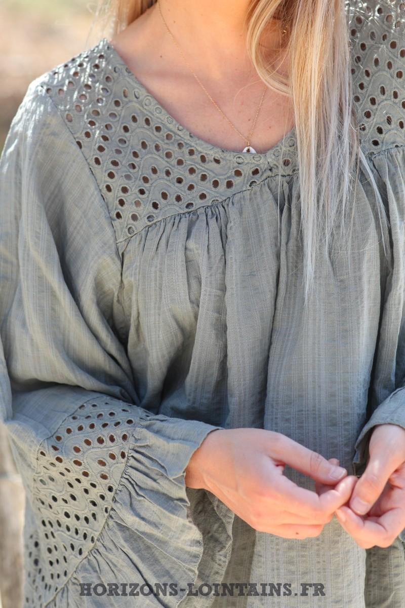 Blouse-kaki-coton-avec-broderie-ajourée-tunique-bohème-vêtements-ample-femme-hippie