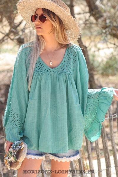 Blouse-vert-céladon-coton-avec-broderie-ajourée-tunique-bohème-vêtements-ample-femme-hippie