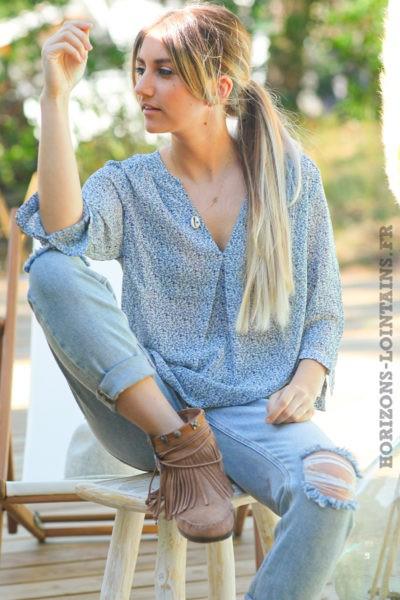 Blouse-voilage-imprimé-bleu-jean-tuniques-ample-bohème-hippie-femme-D046