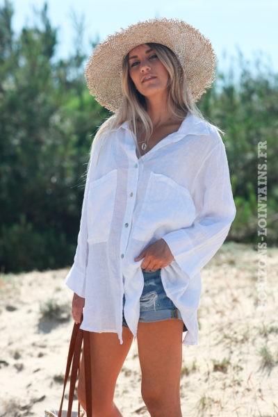 Chemise-blanche-crème-100%-lin-avec-poches-d95-10