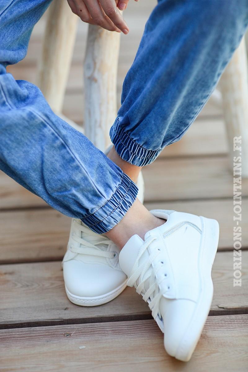 Combipantalon-fluide-en-jean,-manches-courtes-d007--