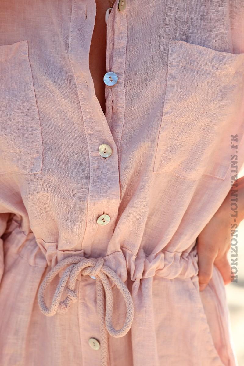 Combipantalon-rose-poudre-100%-lin-boutonnée-d005