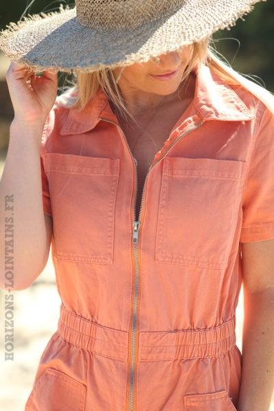 Combishort-en-jean-orange-avec-fermeture-zip-combi-blanche-femme-D011