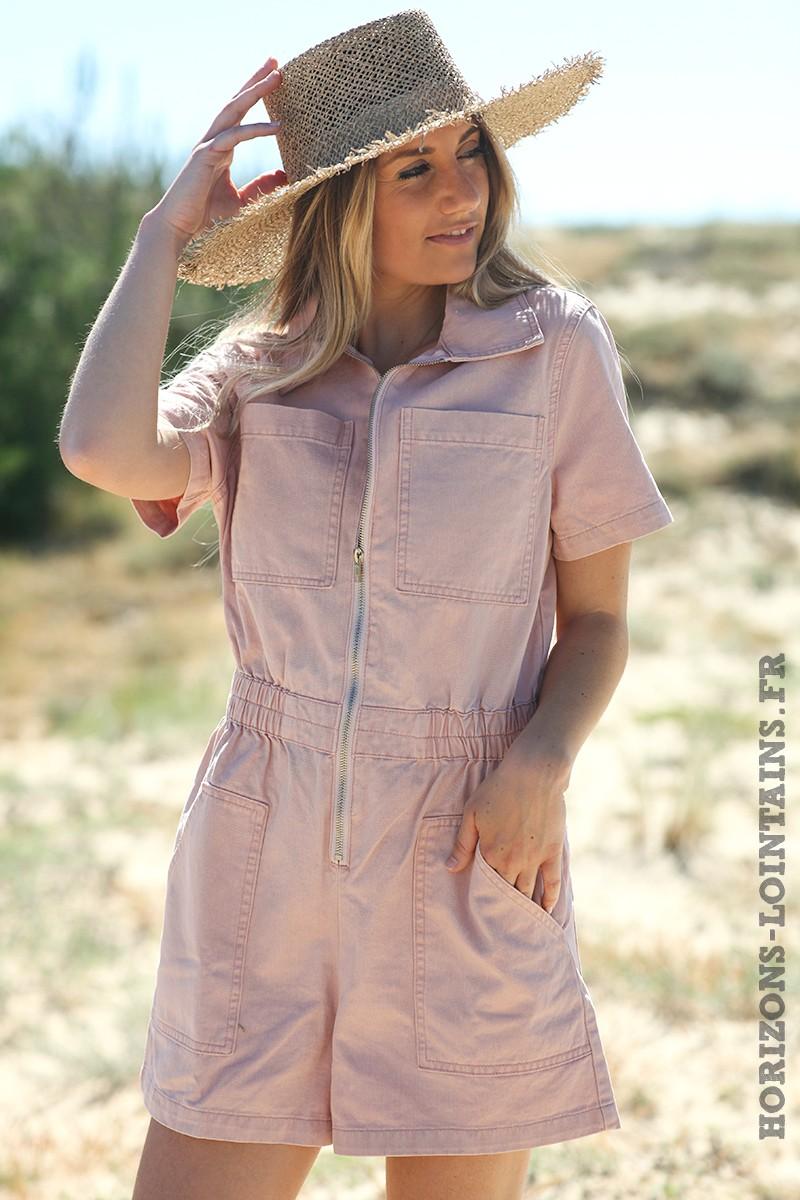 Combishort-en-jean-rose-poudré-avec-fermeture-zip-combi-blanche-femme-D011