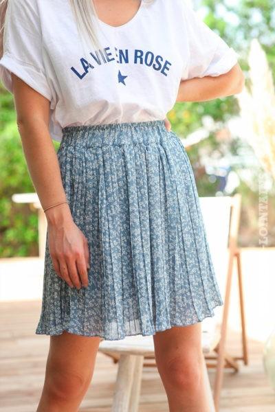 Jupe short plissée bleu jean motifs petites fleurs