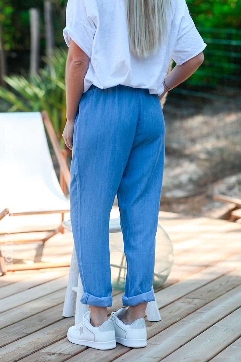 Pantalon fluide denim clair ceinture élastique