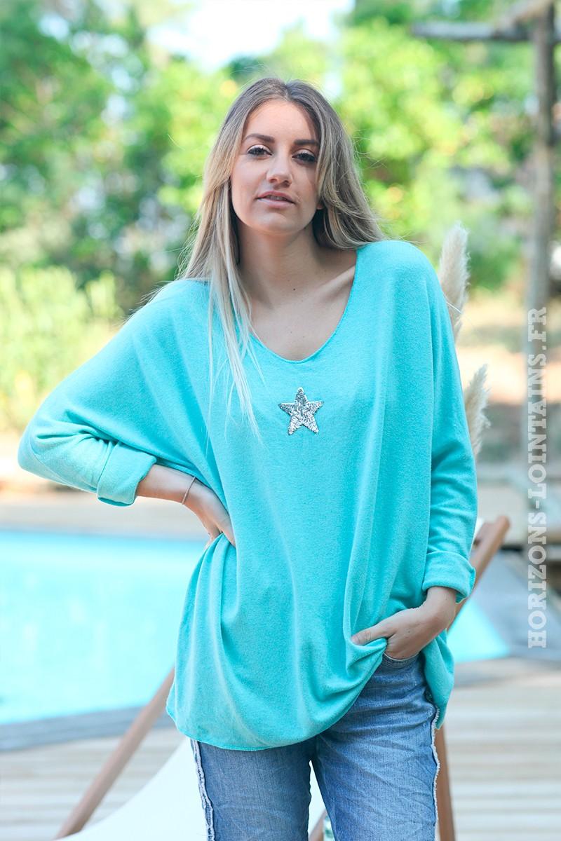 Pull--turquoise-col-v-petite-étoile-sequins-c176-4